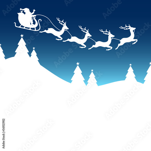 Christmas Card Sleigh 4 Reindeers Blue
