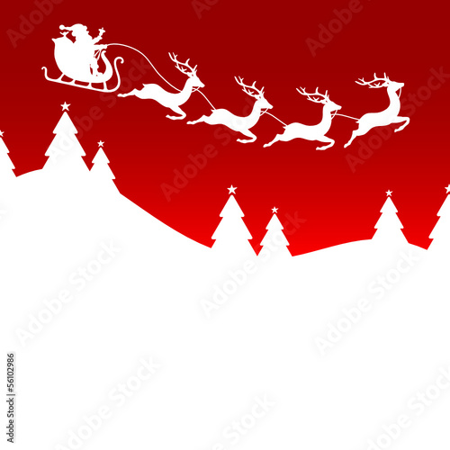 Christmas Card Sleigh 4 Reindeers Red