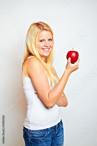 smiling beauty with red apple
