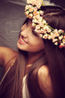 beauty with wreath of flowers