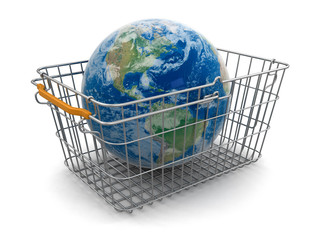 Shopping Basket and Globe (clipping path included)