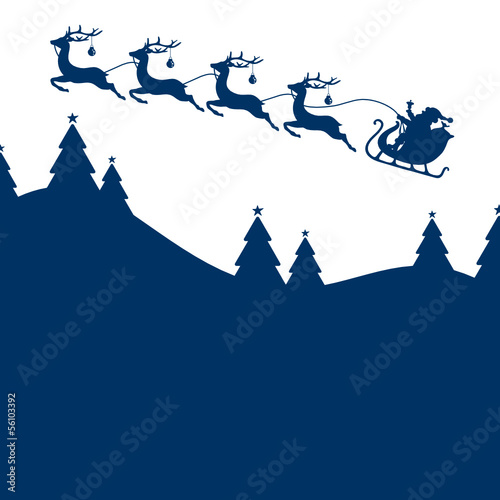 BackgroundChristmas Card Sleigh Silent Night Blue