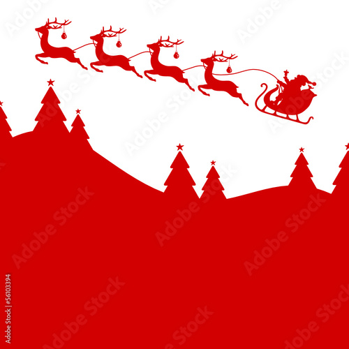 BackgroundChristmas Card Sleigh Silent Night Red