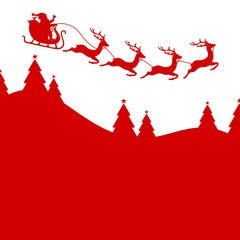 Background Christmas Card Sleigh 4 Reindeers Red