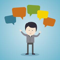 Geschäftsmann mit Sprechblasen, Kommunikation - Illustration