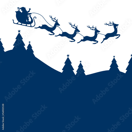 Background Christmas Card Sleigh 4 Reindeers Blue