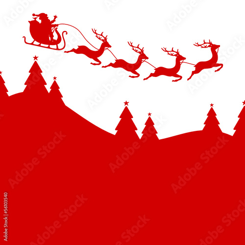 Background Christmas Card Sleigh 4 Reindeers Red