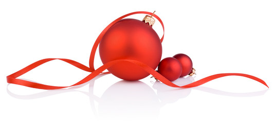 Three red christmas ball and tape Isolated on white background