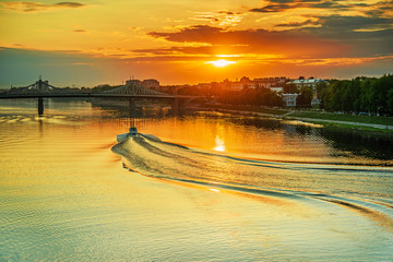 motor ship sails on river Volga