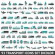 93 Transport icons set bicolor