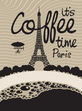 picture with a cup of coffee and Paris with the Eiffel Tower