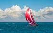 Yacht sailing at waves of the sea