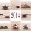 2014, collage sable et galets