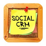 Social CRM. Yellow Sticker on Bulletin.