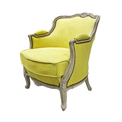 Yellow armchair isolated on white.