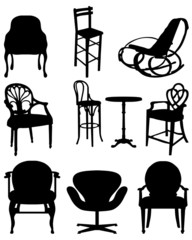 Silhouettes  of chairs , vector