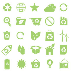 Ecology icons on white background