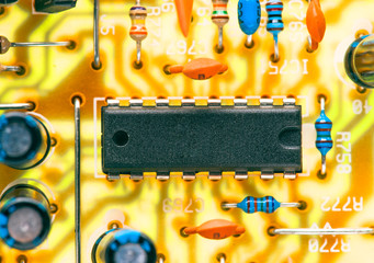 electronic chip and other components mounted on printed circuit
