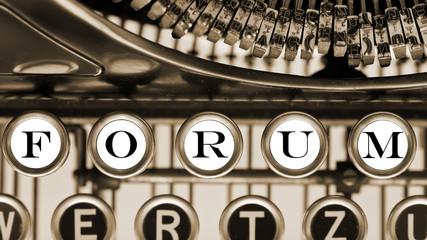 Schreibmaschine. Forum Konzept.