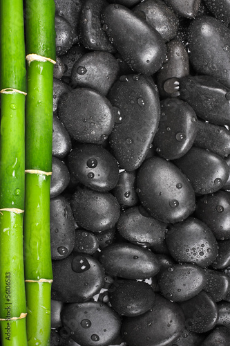 Background with stones and bamboo