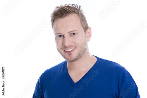 Gesicht blonder Mann - blaue Augen blauer Pulli isoliert