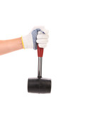 Hand holding hammer on white background