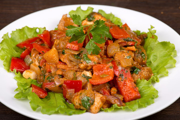 Vegetables with chicken in a curry sauce