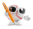 Baseball is writing with a pen