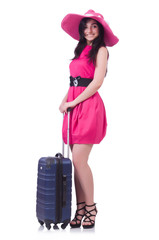 Young girl in pink dress travelling