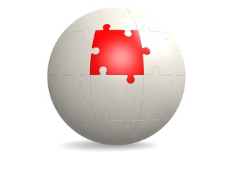 White round puzzle with red