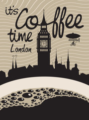 cup of coffee on a background of London and Big Ben