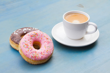 donuts with black coffee
