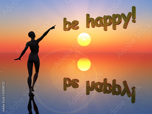 Be happy! with silhouette of sexy young woman