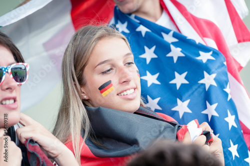 German young supporter at the stadium during the World Cup