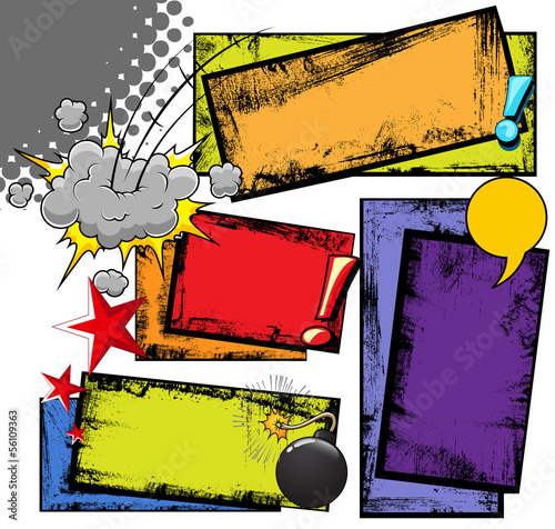 Grunge Dirty Comic Background Strips and Expression Cloud
