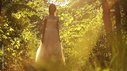Young Bride Turning Smiling Forest Background HD