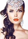 Glamour. Beautiful Woman with Jewelry - Shiny Diadem