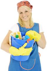 Putzfrau mit Putzeimer
