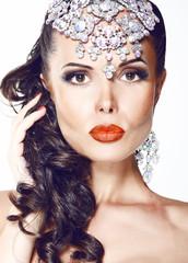 Glamour. Beautiful Woman with Jewelry - Shiny Diadem