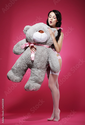 Young Woman in Stockings Erotic Stroking her Favorite Soft Toy