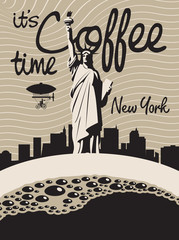 cup of coffee on background of the Statue of Liberty