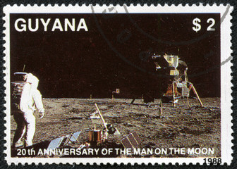stamp from Guyana shows image of the first moon landing