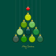 Christmas Tree Hanging Balls Pattern Green/Gold Dark Green