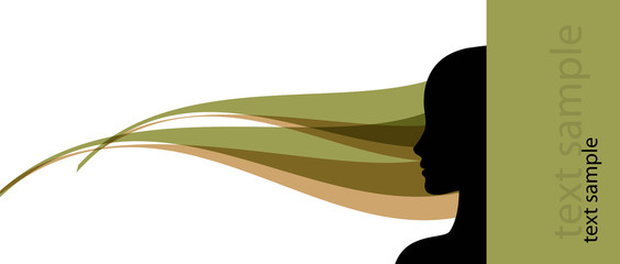 banner template with female profile silhouette