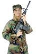 Weiblicher Soldat mit Gewehr