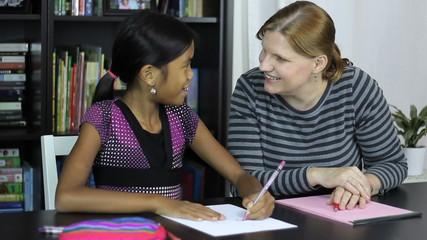 Homeschool Mom Teaches Art Lesson To Daughter