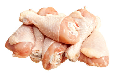 Raw chicken legs, isolated on white background