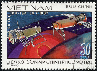 stamp printed in Vietnam shows spaceship