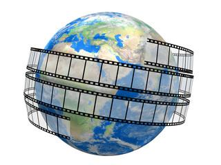Film Strip and globe