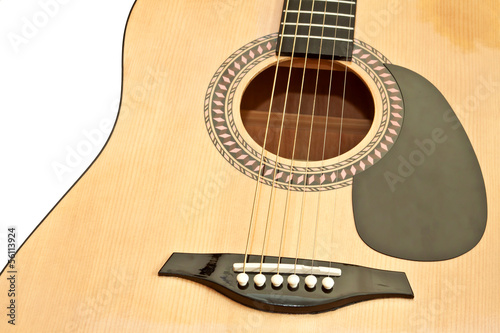 Picture of acoustic guitar, isolated on the white background